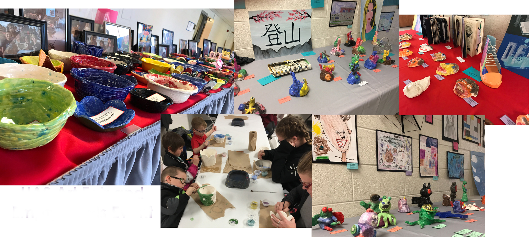 HAS Art Fair and Empty Bowls Event 2019 with pictures of painted bowls, students and parents painting a bowl, and artwork on tables and walls.