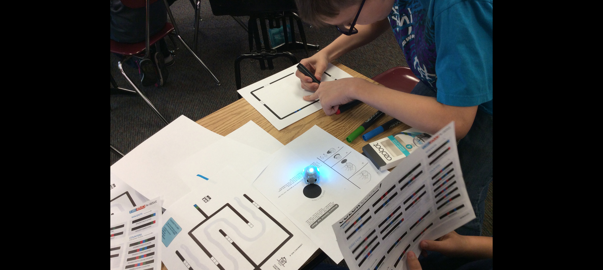 5th Grade student using Ozobot.  Thank you Holly Educational Foundation for awarding Miss Raymoure the scholarship to purchase a class set!