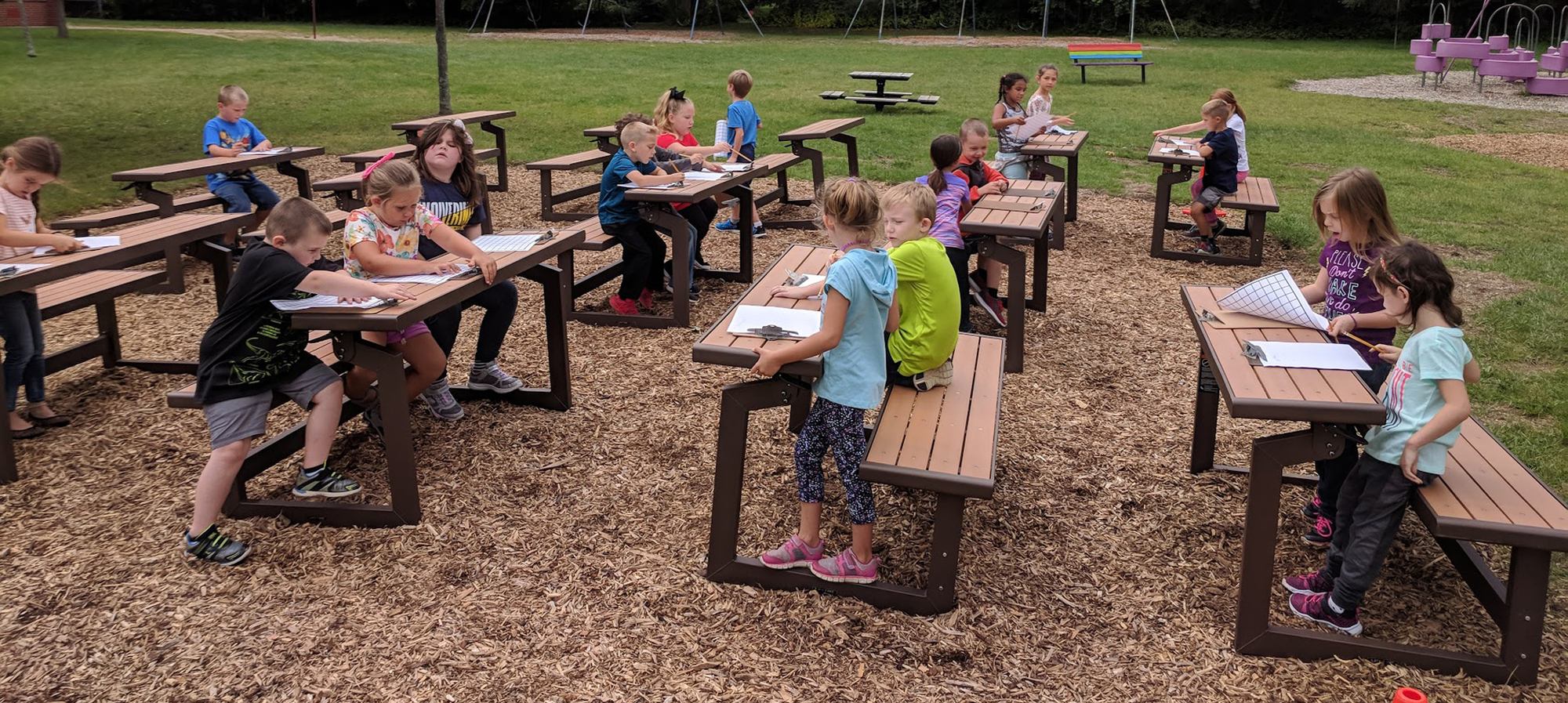 Outdoor Classroom with students working