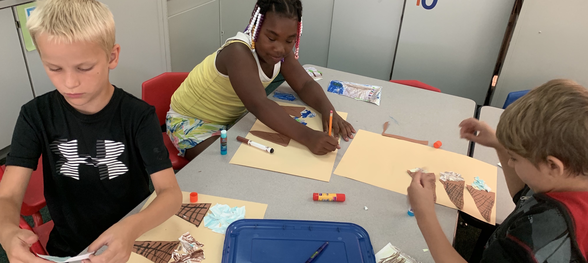Students working on project at summer learning