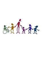 Graphic with stick type style children of different colors and sizes including one in a wheel chair, and an adult