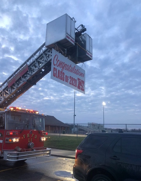 Fire truck with sign - congratulations Class of 2020