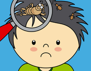 Cartoon image of boys head with magnifying glass showing lice