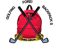 Golfing FORE Backpacks - Third Annual logo with backpack and golf clubs