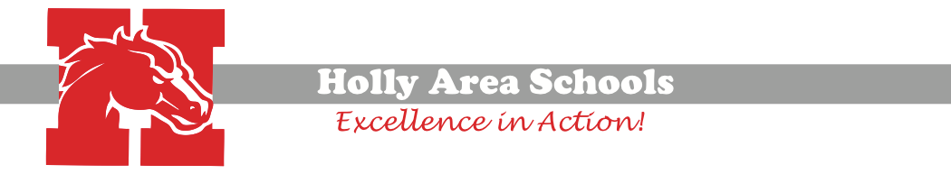 Holly Area Schools Logo with title and Excellenace in Action!