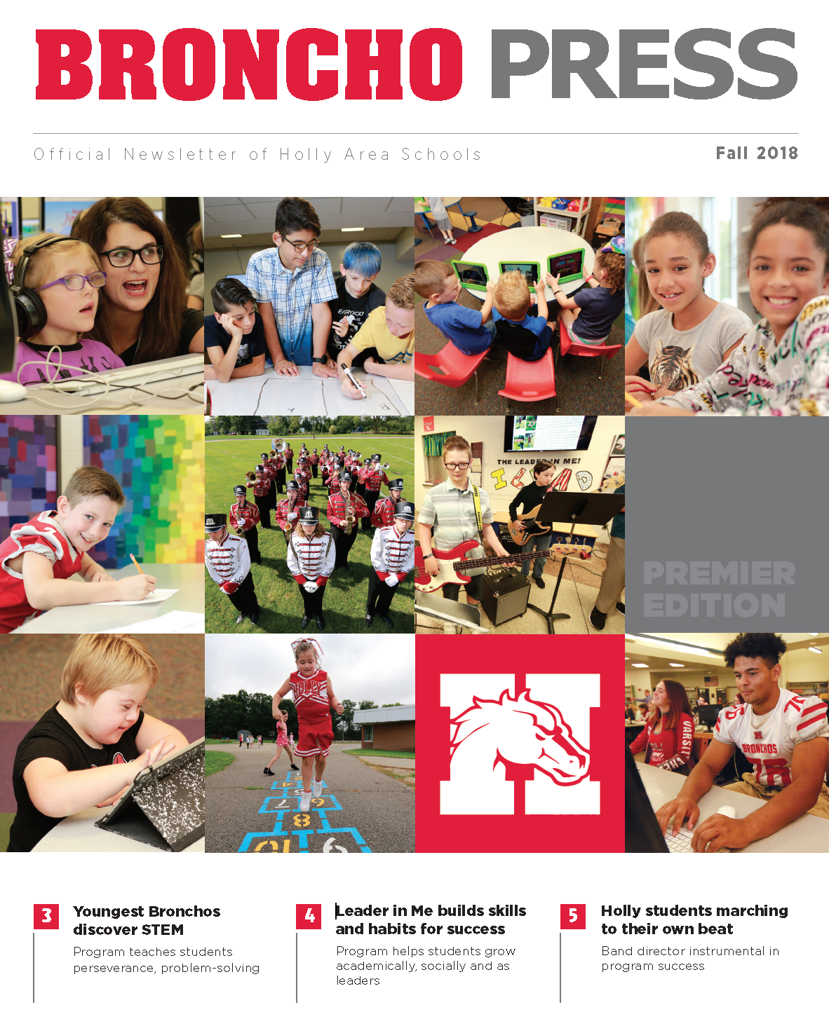 Holly Area Schools official newsletter - picture of the Broncho Press