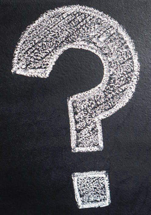 Question mark on chalkboard