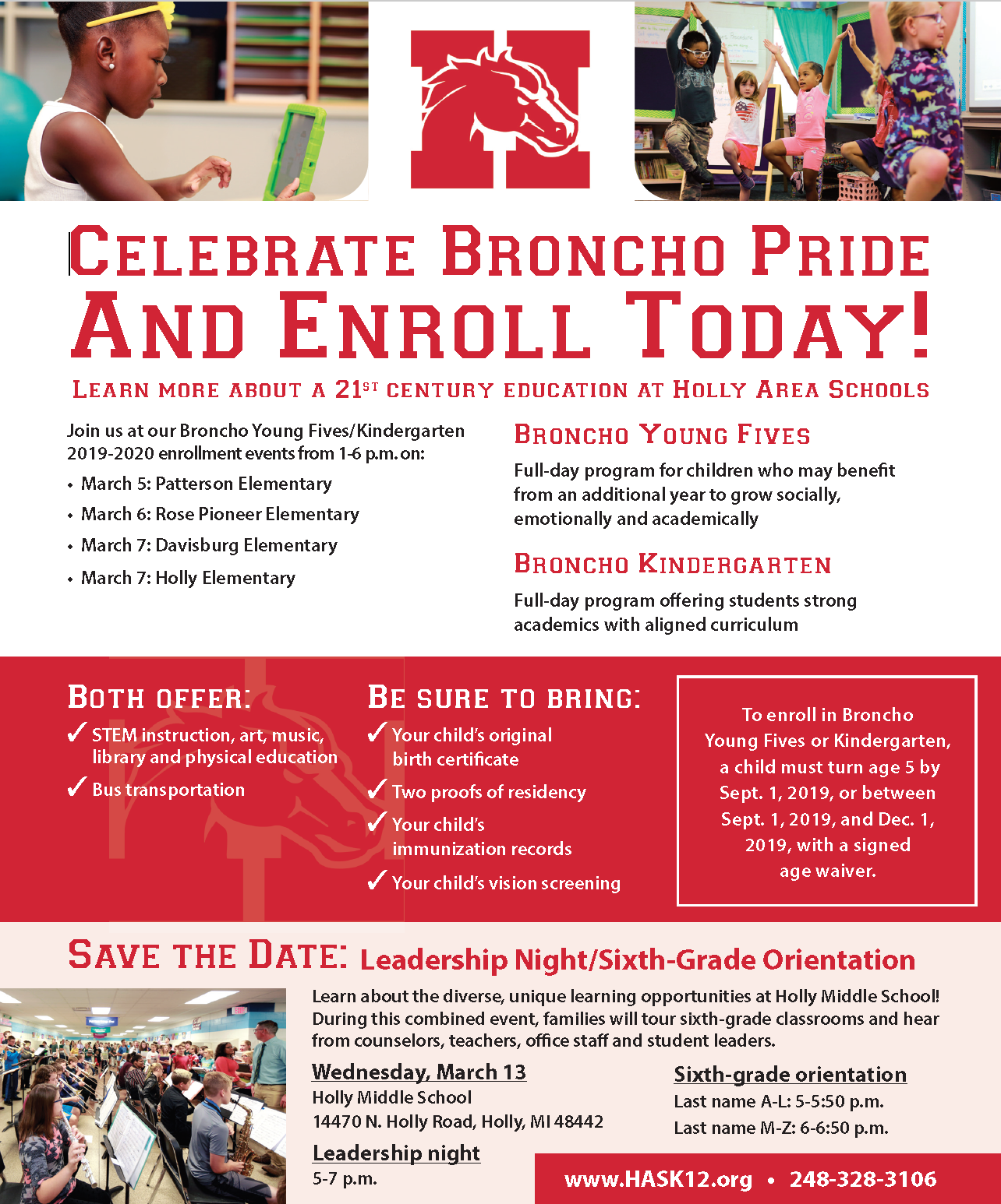Young Five/Kindergarten Enrollment dates and 6th Grade Orientation Information