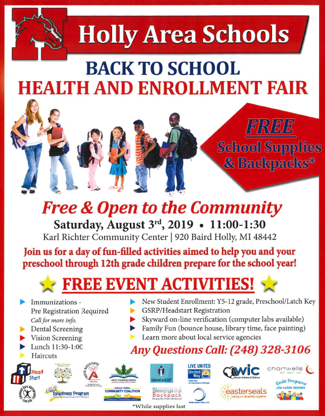 Back to School Health and Enrollment Fair Flyer