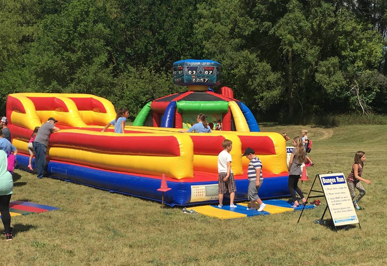 Inflatable slide with kids