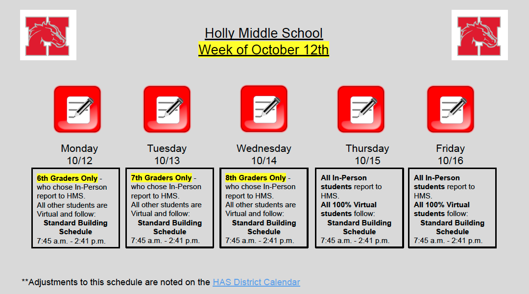 HMS Week of 10-12-20 schedule