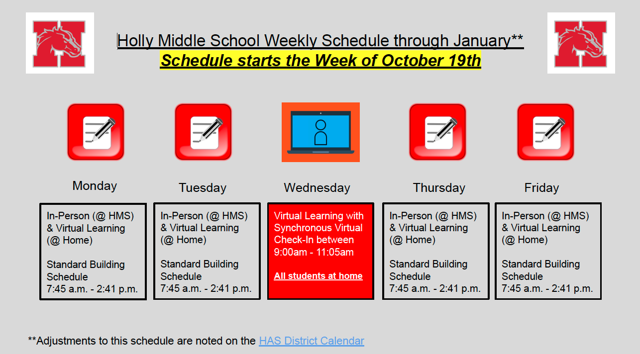 Weekly schedule 10-19-20 through January 2021