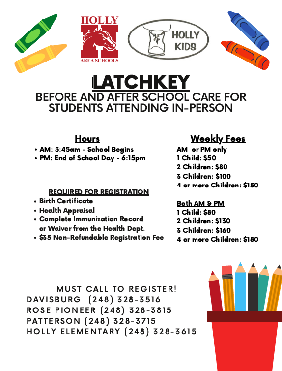 Latchkey flyer with rates