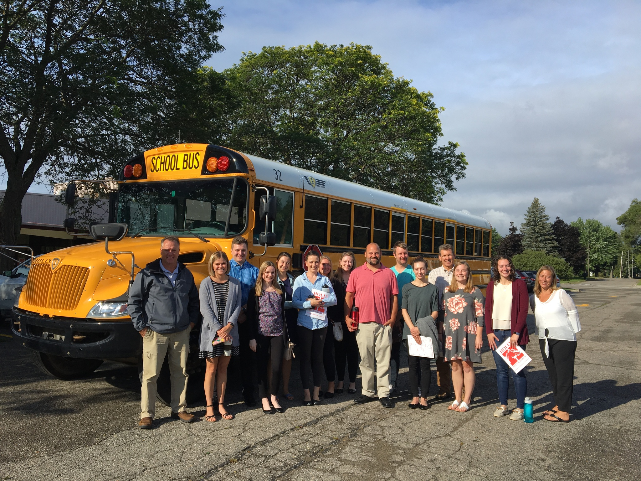 New teachers for 2019-20 with a school bus